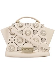 Zac Posen Floral Embellished Tote Women Calf Leather Metal One Size Nude Neutrals
