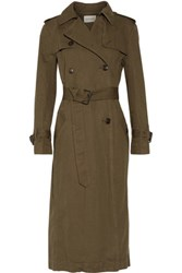 Etoile Isabel Marant Maden Cotton And Linen Blend Trench Coat Army Green