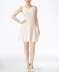 Bar Iii Striped Fit And Flare Dress Only At Macy's Ballet Pink