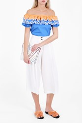 Peter Pilotto Women S Embroidered Off The Shoulder Top Boutique1 Blue
