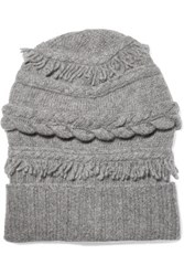 Agnona Fringed Cable Knit Wool And Cashmere Blend Beanie Light Gray