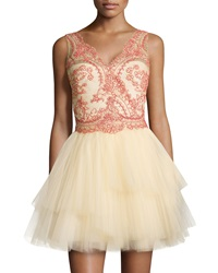 Marchesa Notte Sleeveless Tiered Tulle Skirt Cocktail Dress