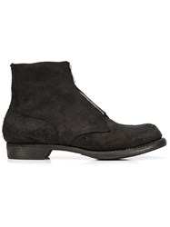Guidi Front Zip Ankle Boots Black