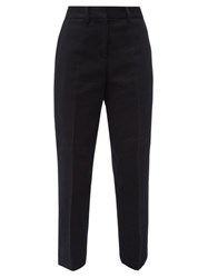 Margaret Howell Tailored Cotton Needlecord Cropped Trousers Navy