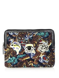 Kenzo Leather Trim Tiger Print Tablet Case Multicolor