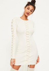 Missguided Cream Lace Up Detail Ribbed Bodycon Dress