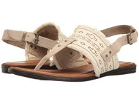 Minnetonka Panama Natural Canvas Fabric Taupe Suede Women's Sandals Beige