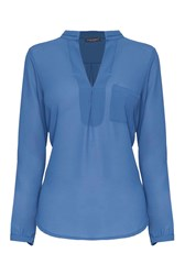 James Lakeland Sheer Blouse With Pocket Blue
