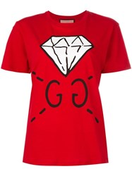 Gucci Diamond Print Logo T Shirt Red