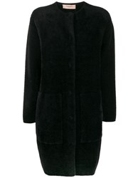 Twin Set Textured Button Up Coat Black