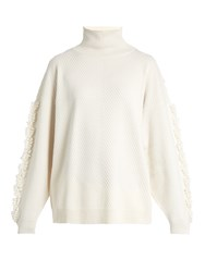 Barrie Timeless Roll Neck Cashmere Sweater Cream