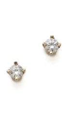Gabriela Artigas White Diamond Stud Earrings Yellow Gold White Diamonds