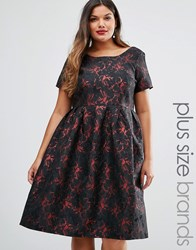 Truly You Brocade Midi Dress Black