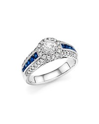 Bloomingdale's Diamond And Sapphire Engagement Ring In 14K White Gold White Blue