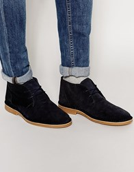 Selected Homme Royce Suede Desert Boots Blue