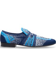 Prada Semi Stretch Fabric Loafers Blue