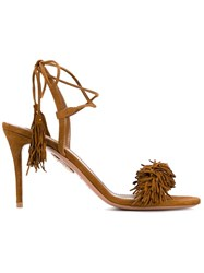 Aquazzura 'Wild Thing' Mid Heel Sandals Brown