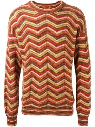 Missoni Vintage Zig Zag Pattern Sweater Yellow And Orange