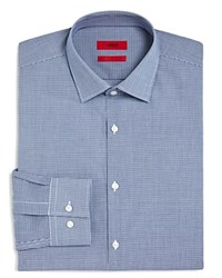 Hugo Micro Gingham Check Slim Fit Dress Shirt Navy