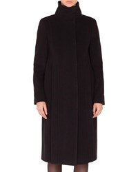 Akris Punto Stand Collar Side Zip Seams Midi Length Cashmere Blend Coat Black