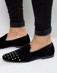 Asos Smart Loafers In Black Velvet With Stud Toe Detail Black