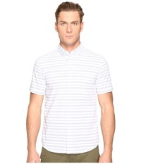 Jack Spade Short Sleeve Horizontal Variated Stripe Button Down White Men's Short Sleeve Button Up