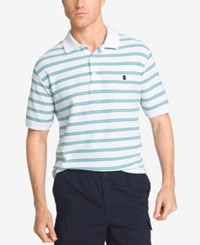 Izod Men's Striped Polo Bright White