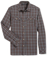 Sean John Men's Bias Plaid Shirt Medium Grey Heather