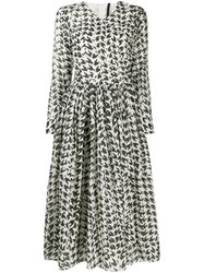 Sara Lanzi Houndstooth Print Dress White