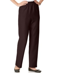 Alfred Dunner Petite Pants Pull On Straight Leg Brown
