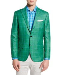 Kiton Windowpane Cashmere Silk Three Button Sport Coat Green