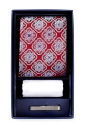 Broletto Fleming Medallion Tie Tie Bar And Pocket Square Set Red