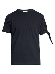 J.W.Anderson Knotted Sleeve Cotton T Shirt Navy