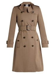 Burberry Townley Ruffled Collar Cotton Trench Coat Beige