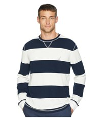 Nautica Long Sleeve Rugby Stripe Sweater Marshmallow Clothing Blue