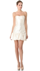 Reem Acra Silk Gazar Dress With Trimmed Hem Ivory