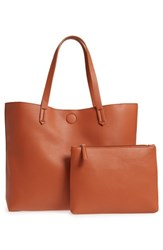 Bp. Contrast Lining Faux Leather Tote Brown Cognac