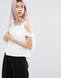 Monki Cold Shoulder Layered Top White