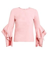 Roksanda Ilincic Rana Topstitched Cotton Top Pink