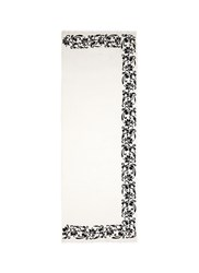 Janavi 'Black Rose' Beaded Embroidery Cashmere Scarf White