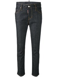 Dsquared2 Cropped Skinny Jeans Women Cotton Spandex Elastane Polyester Magnesium 42 Blue