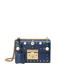Gucci Padlock Small Studded Leather Shoulder Bag Blue