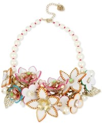 Betsey Johnson Gold Tone Multi Crystal And Imitation Pearl Floral Statement Necklace