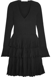 Diane Von Furstenberg Sharlynn Ruffled Ribbed Stretch Knit Mini Dress Black