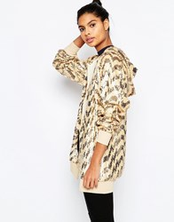 Story Of Lola Festival Longline All Over Sequin Hoodie Golden Yellow