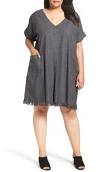 Glamorous Plus Size Women's Frayed Hem Denim Shift Dress