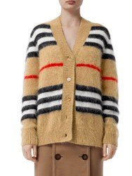 Burberry Icon Striped Mohair Blend Knit Cardigan Beige