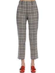 Gucci Cropped Wool Check Madras Pants Blue