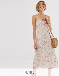 New Look Petite Tie Front Strappy Dress In Floral Print White
