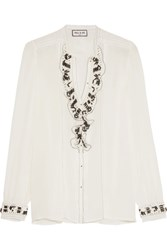Paul And Joe Ruffled Lace Trimmed Embellished Silk Crepe De Chine Blouse White